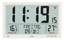 AMS 5887 Wanduhr Funk Digitale Anzege Zeit Datum Wochentag Temperatur Wecken