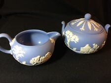 Vintage Wedgwood Jasperware Blue and White (Lavender) Creamer & Sugar