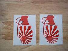 2 x JDM rising sun Granade Decals for japanese cars / motorcycles  15 colours