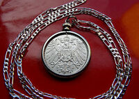 ".900 SILVER  1891-1915  GERMAN EAGLE MARK PENDANT 30"" 925 Sterling Silver Chain"