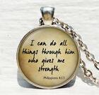 Scripture Pendant Philippians 4:13 Scripture Jewelry Encouragement Bible Quote