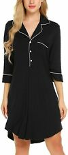 Ekouaer Nightgown Button Down Nightshirt 3/4 Sleeve &Half Sleeve Pajama Top Boyf