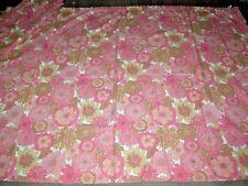 """Vintage 60s 70s poder Flor Rosa cortinas de ancho Par Sin Forro L 54"""" X W 86"""" cada uno"""