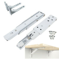 Pair Spring Design Wall Mounted Folding Triangle Shelf Brackets with 8 Screws UK