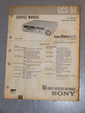 Sony GSC-50 Beta Video Cassette Recorder Serice Manual FREE SHIPPING! A09
