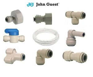 """1/4"""" Water Filter Push In John Guest Push Fit Tap Connectors Filter Tubing White"""
