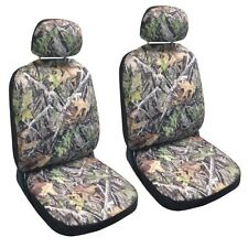 Premium Green Camouflage Forest Gray Fitted Bucket Camo Auto Front Seat Cover HS