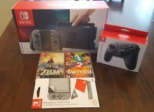 Nintendo Switch Bundle - 32GB Console, Gray Joy-Con, Zelda BOTW, 1-2, Pro Contlr