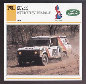 1981 Range Rover VSD Paris-Dakar Rene Metge Rally Car Photo Spec Sheet Info CARD
