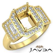 Diamond 3Stone Engagement Ring 18k Yellow Gold 0.95Ct Vintage Emerald Semi Mount