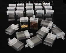 """Rectangle Clear Plastic Storage Tubes With Flip Tops 1 7/8"""" Pack Of 100"""