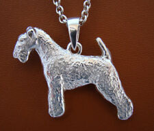 Large Sterling Silver Lakeland Terrier Standing Study Pendant