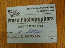1992 Political Party: The Labour Party - Press Photographers Pass, For The 81st