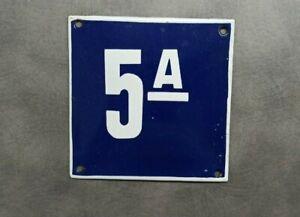 Vintage Enamel Sign Number 5A Blue House Door Street Plate Metal Porcelain Tin