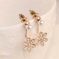 1Pair Women Girls Flower Pearl Rhinestone Crystal Dangle Ear Stud Earrings Style