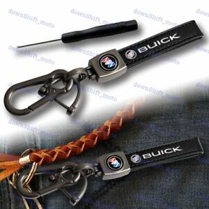 Black Leather Gift Deco Keychain Lanyard Quick Release Key chain for All Buick