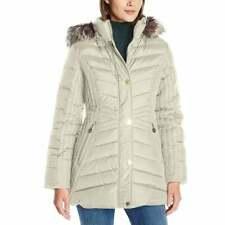Anne Klein Women's Coat Size Medium Faux-Fur Hooded Short Down Feather Jacket