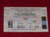[Collezione Sport Calcio] Ticket Psg / Bordò 21 Maggio 1994 Campionato France