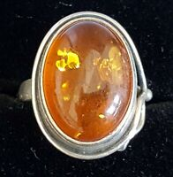 Sterling silver & amber vintage Art Deco antique ring - size N