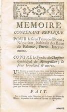 FACTUM MÉMOIRE JUDICIAIRE BALARUC hérault DONAT NÉGOCIANT VERS 1770