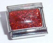RED GLITTER RECTANGLE Italian Charm Christmas fits Classic Starter Bracelets