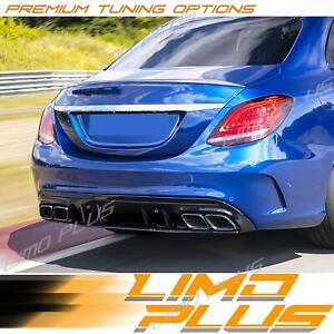 C63 Style Rear Diffuser Exhaust Tips For Mercedes Benz W205 4-Dr Sedan C43 AMG
