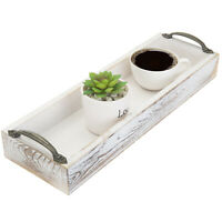 MyGift Whitewashed Wood Wine Glass and Bottle Serving Tray with Side Handles