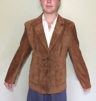 Style and Co. Womens Suede Western Leather Blazer Cowgirl Rodeo Brown Size M
