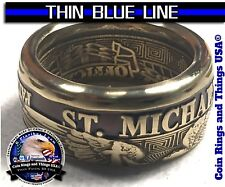 Thin Blue Line Law Enforcement Police Officer LEO St Michael Challenge Coin Ring