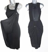 Karen Millen Black Jersey Stunning Asymmetric Neck Draped Dress Size UK-10 EU38