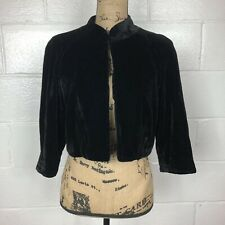 Metro 7 Velvet Cropped Jacket Black 3/4 Sleeves Size 6