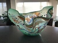 "Stephen Nelson signed 1988 Hand Blown Contemporary Abstract Vase 13 "" x 12""W"