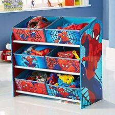 Childrens Toy Storage Unit Organiser 6 Bins Kids Spiderman Box Bedroom Furniture