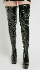 Tilly London Mens Womens Crossdresser Fetish Black Patent Thigh High Boots UK 8