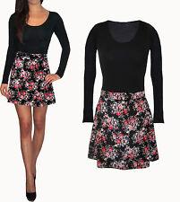 Peaches&Cream UK Skater Floaty Long Sleeve Mini Dress Black Floral Winter Velour