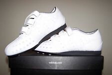 Men's NEW size 7 Adidas White Leather Rowing Shoes with Silver and Black Trim