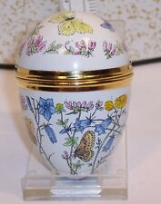 Lovely Crummles Enamel Egg Trinket Box Flowers Butterflies Bee Insect Lady Bug