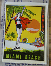 ORIGINAL VINTAGE TRAVEL DECAL MIAMI BEACH FLORIDA PINUP BIKINI AUTO LUGGAGE OLD