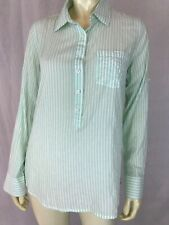 J. Crew Blouse 6 Women's Sheer Cotton Spandex Pullover Green Stripes Button Down