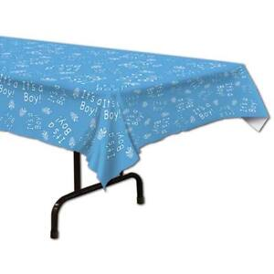 """Baby Shower It's a Boy Plastic Tablecloth 54"""" x 108"""" Boy Baby Shower Decorations"""
