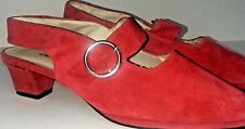 CHINESE LAUNDRY Mary Jane Slingback Pump Dress shoes Red Leather Suede Size 7
