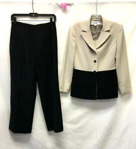 Le Suit Petite Black/Beige 2 Piece Pant Suit SZ 4P A130DMH