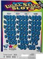 """Pull Tab Ticket $2 """"Lucky 7 Slots"""" - $1882 Giant $ Profit - Free Shipping!"""