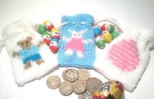 3 EASTER GIFT BAG KNITTING PATTERNS, BUNNY  TEDDY AND EGG