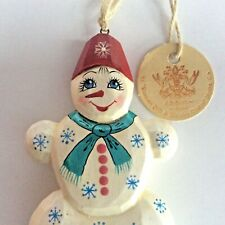 NWT G. DeBrekht Snowman Wood Handpainted Ornament Christmas Decoration Russian