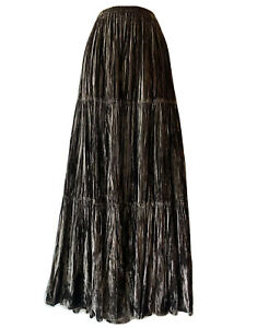 DOUBLE D RANCH Gypsy Bohemian Maxi Skirt Velour Boho Hippie Texas Western S 12