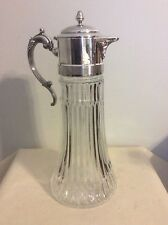 VINTAGE GLASS WITH SILVER PLATE TOP/WATER CARAFE WITH ICE INSERT E P ZINC Italy