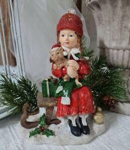 Niño de Invierno Con Gato Deco Figura Navidad Vintage Shabby
