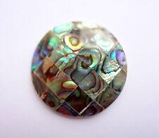 35mm Round Abalone Shell Gemstone Bead Pendant - 1 Pc
