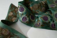 Antique Victorian Trim Edging Metallic Bullion Embroidery Emerald, Purple & Gold